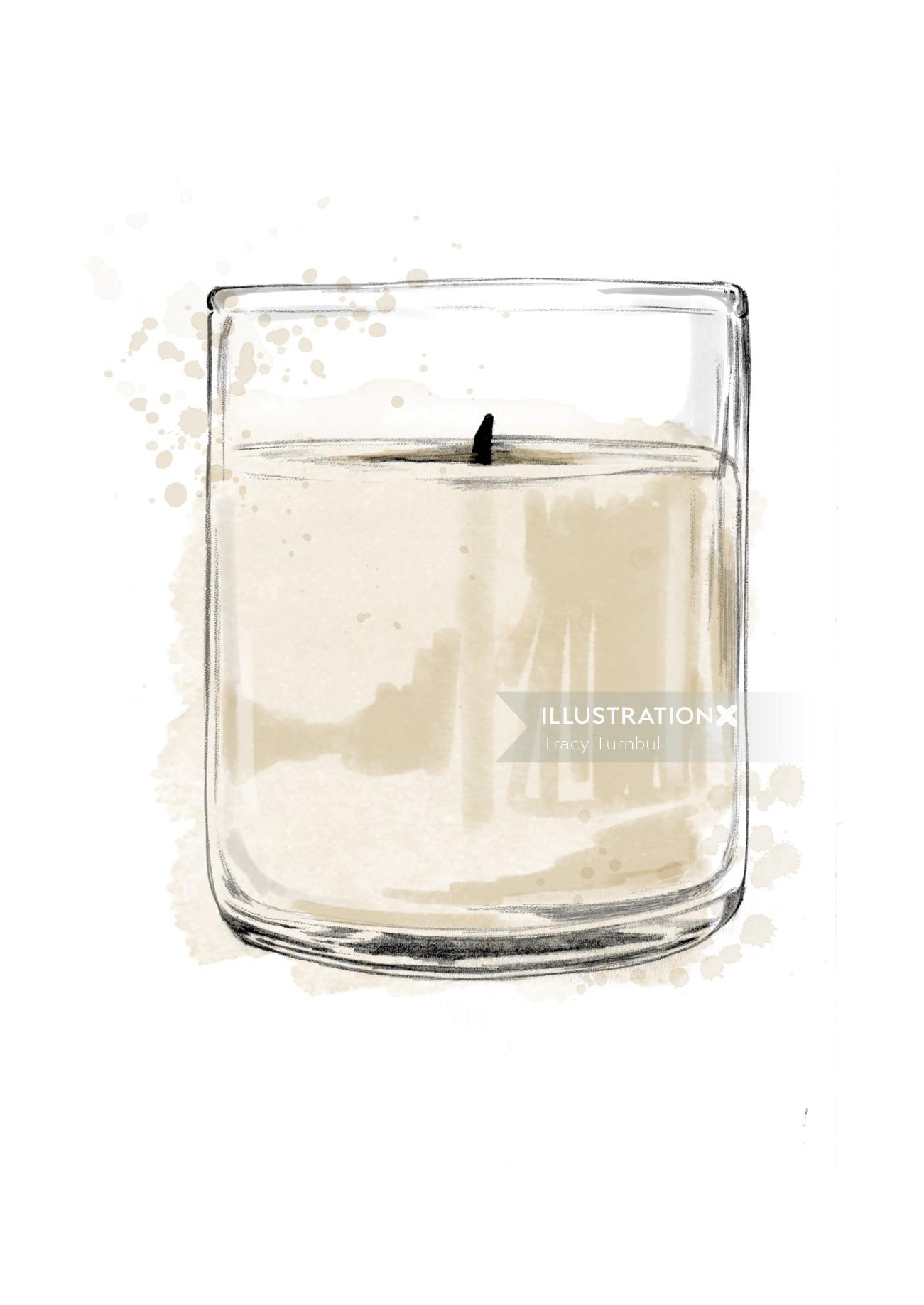 Candle in glass jar illustration