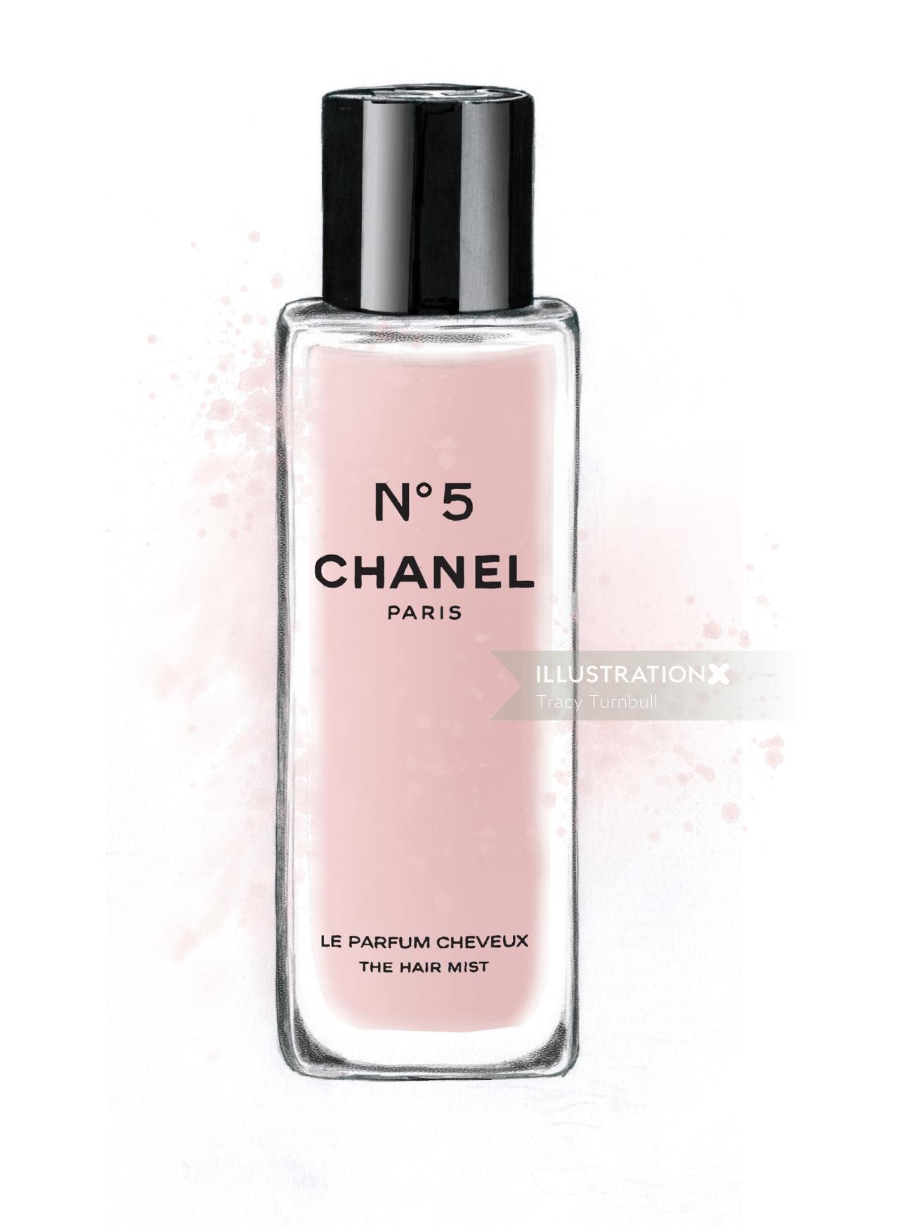 illustration of hair mist    Chanel No 5