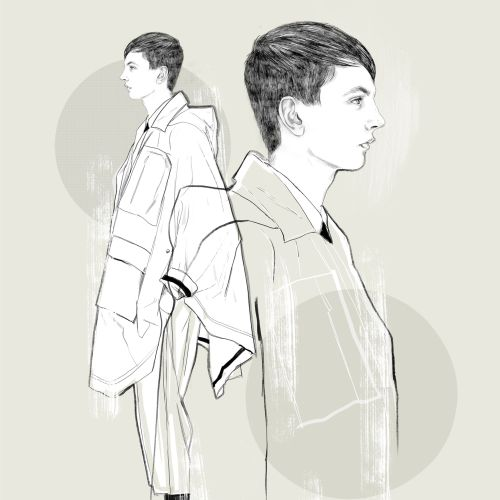 Line art illustration of Menswear fashion