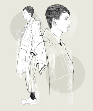 Line art illustration of Menswear fashion