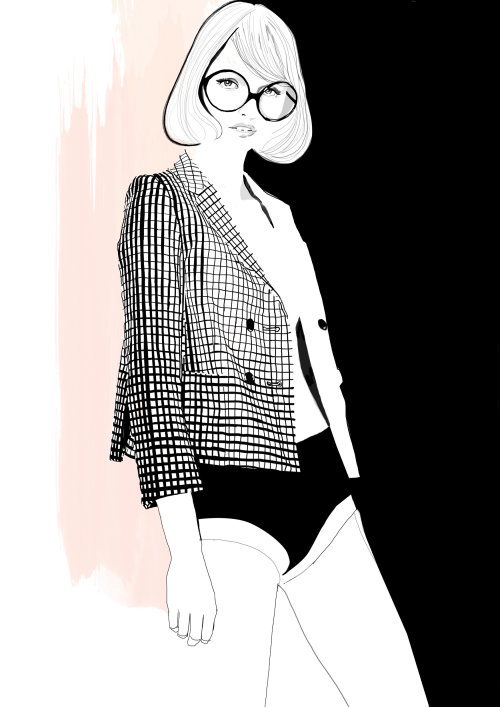 Black and white illustration of woman wearing glasses