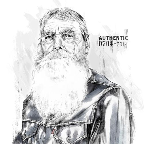portrait illustration of old man with white long beard