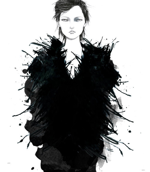 Crow girl illustration