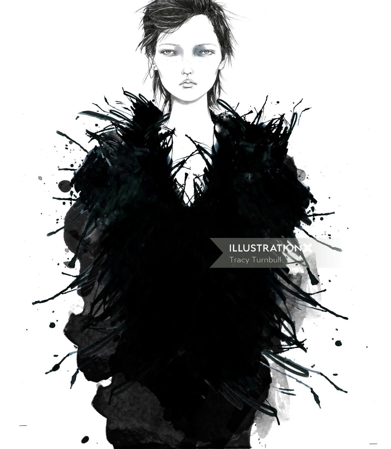 Crow girl illustration