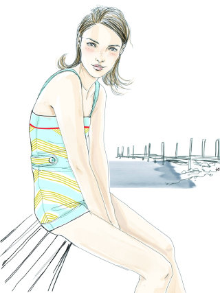 Graphic of girl about to swim