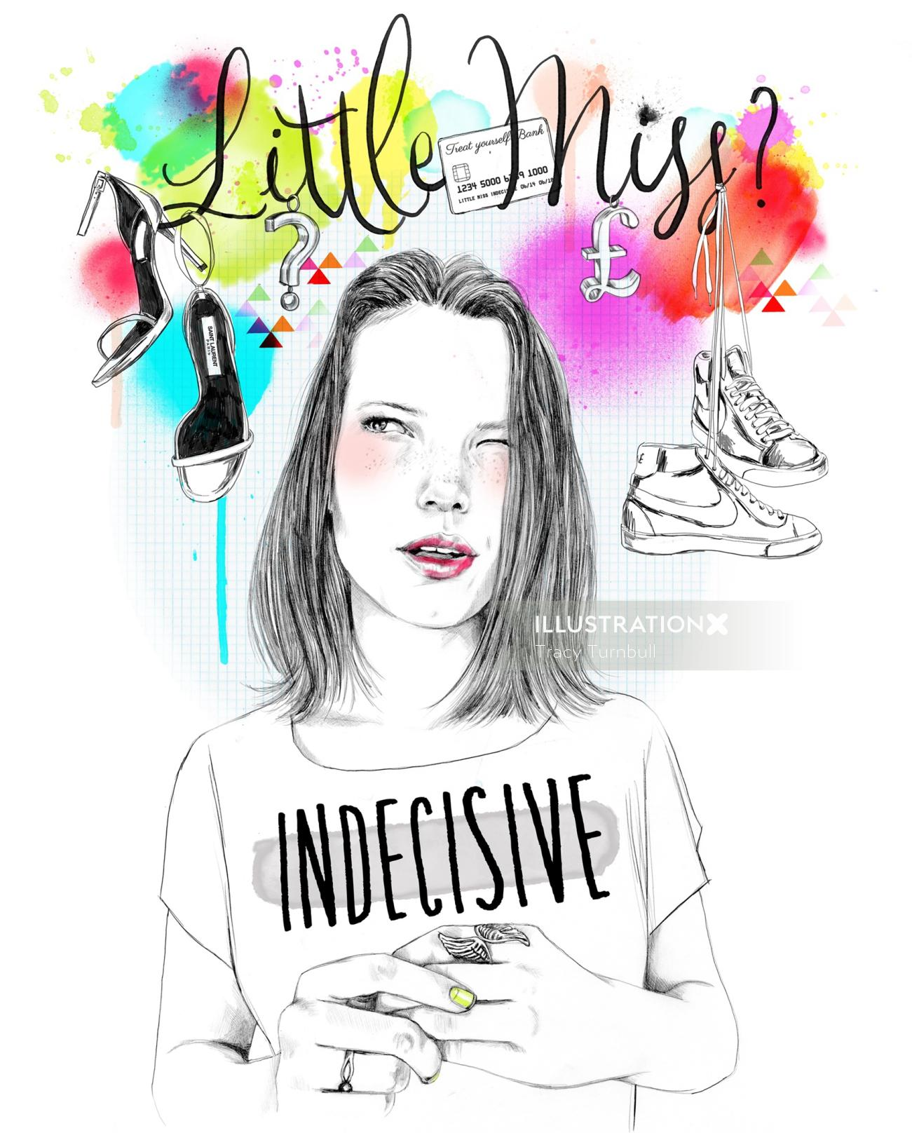 Little Miss Indecisive self initiated artwork by Tracy Turnbull