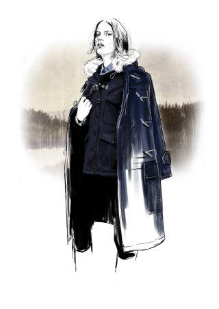 Womenswear duffle jacket illustration
