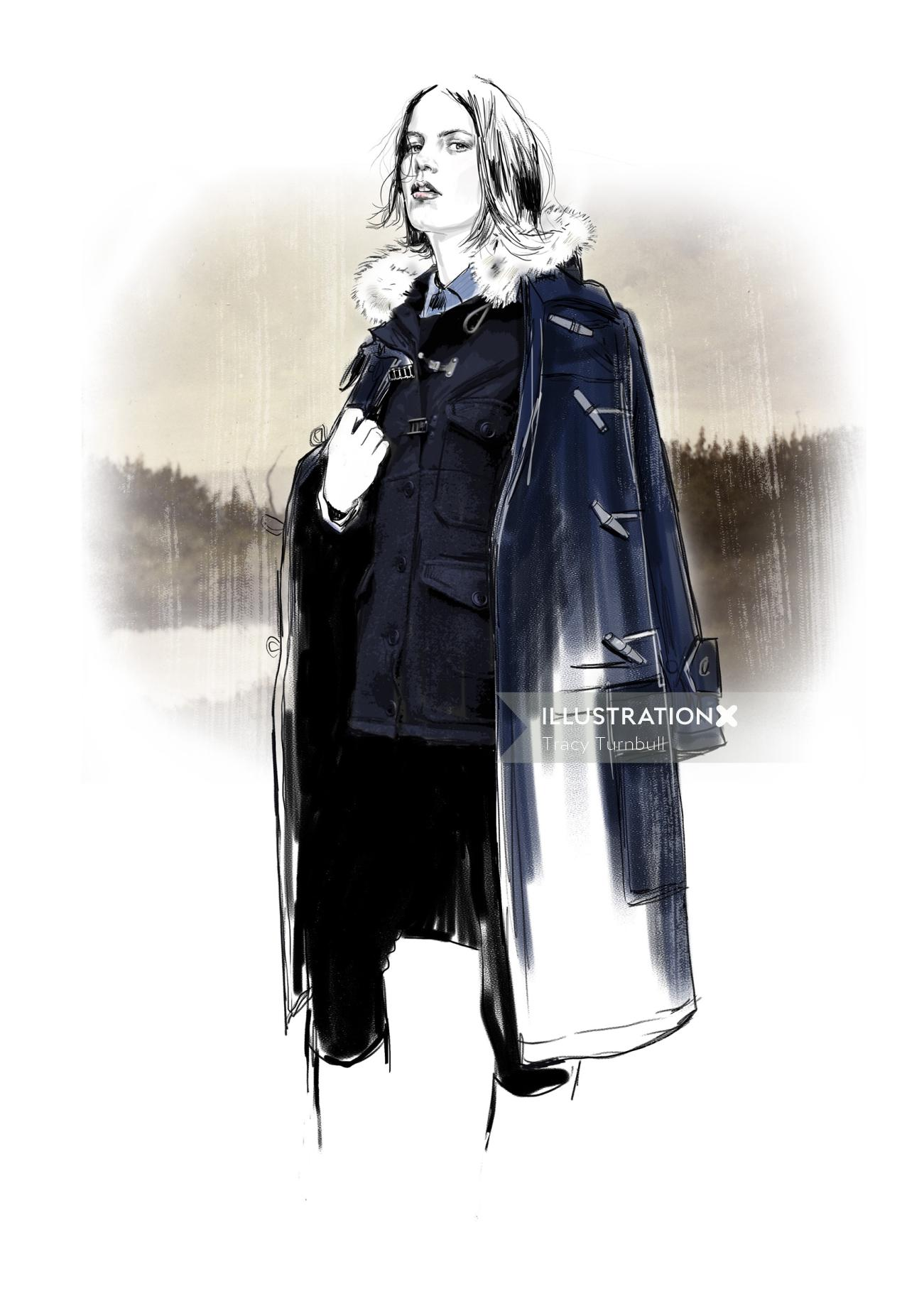Womenswear duffle jacket illustration