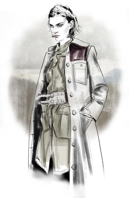 Women in Army Coat Illustration by Tracy Turnbull
