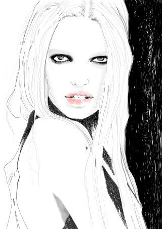 line art of Black eyed girl