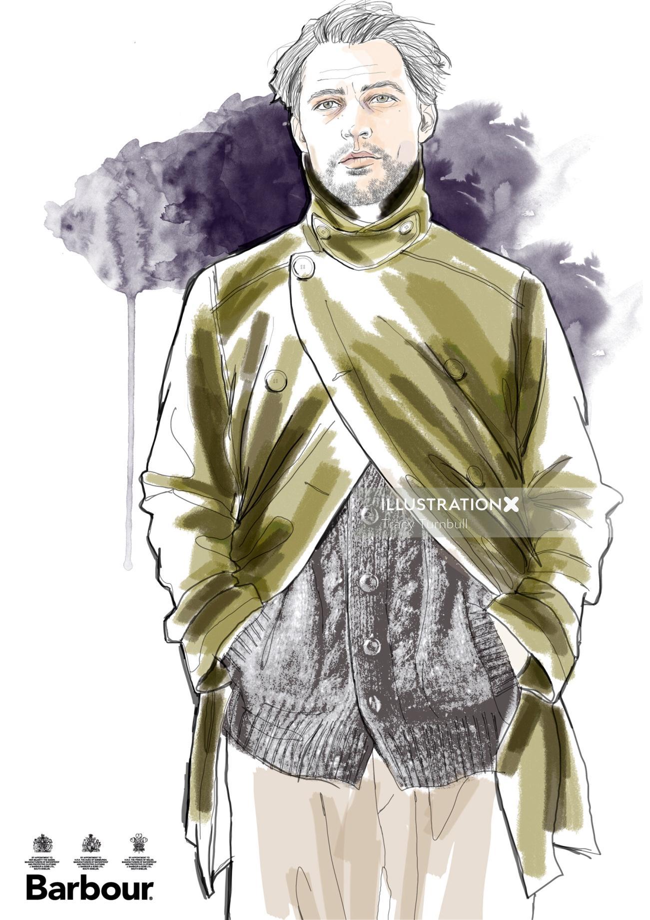 Friendly Cardi Menswear Illustration