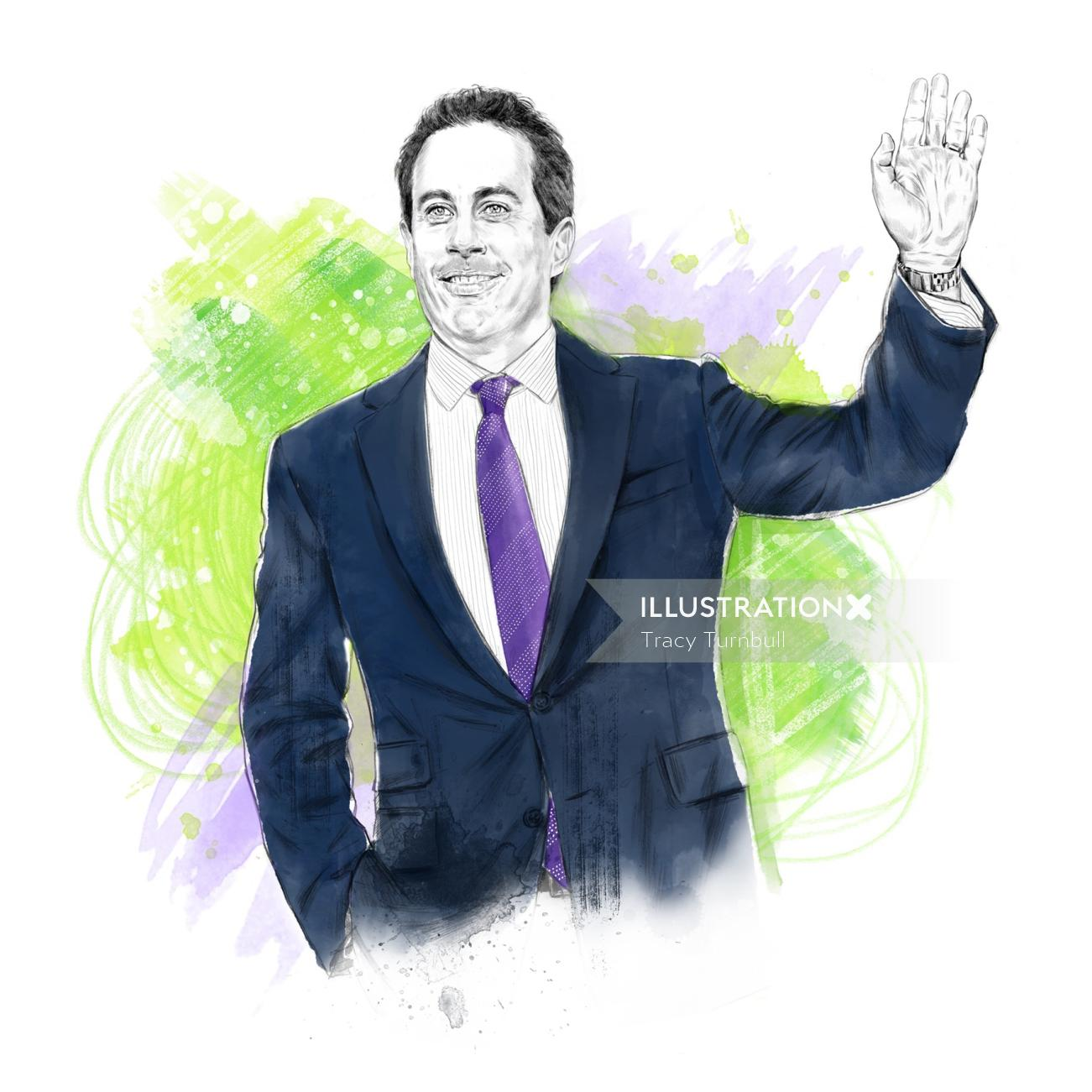 Readers Digest US Jerry Seinfeld  Pencil Portraits
