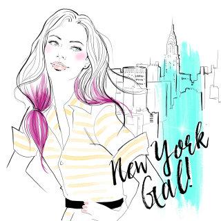 fashion illustration of a new York girl