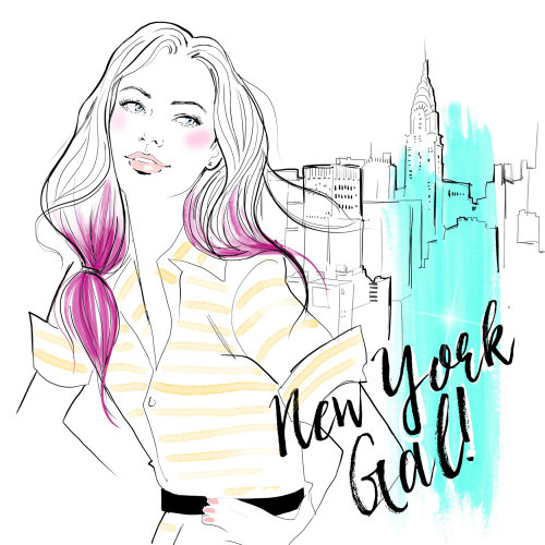 fashion illustration of a new York girl