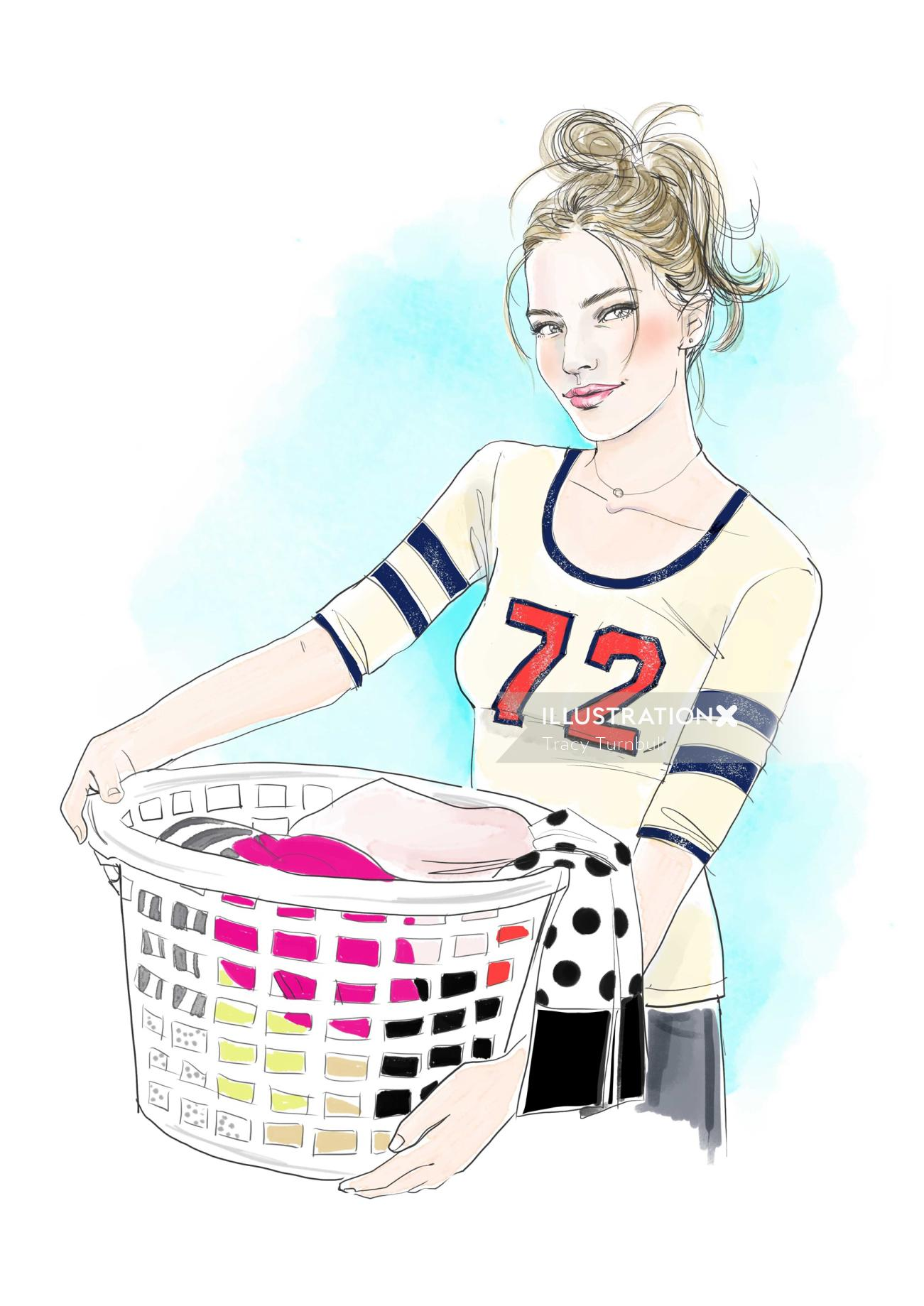 young woman holding a laundry basket full of clothes