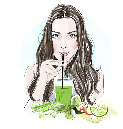 long haired girl drinking healthy vegetable juice