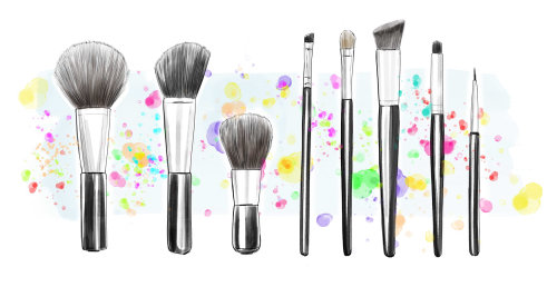 Illustration of Makeup brushes kit