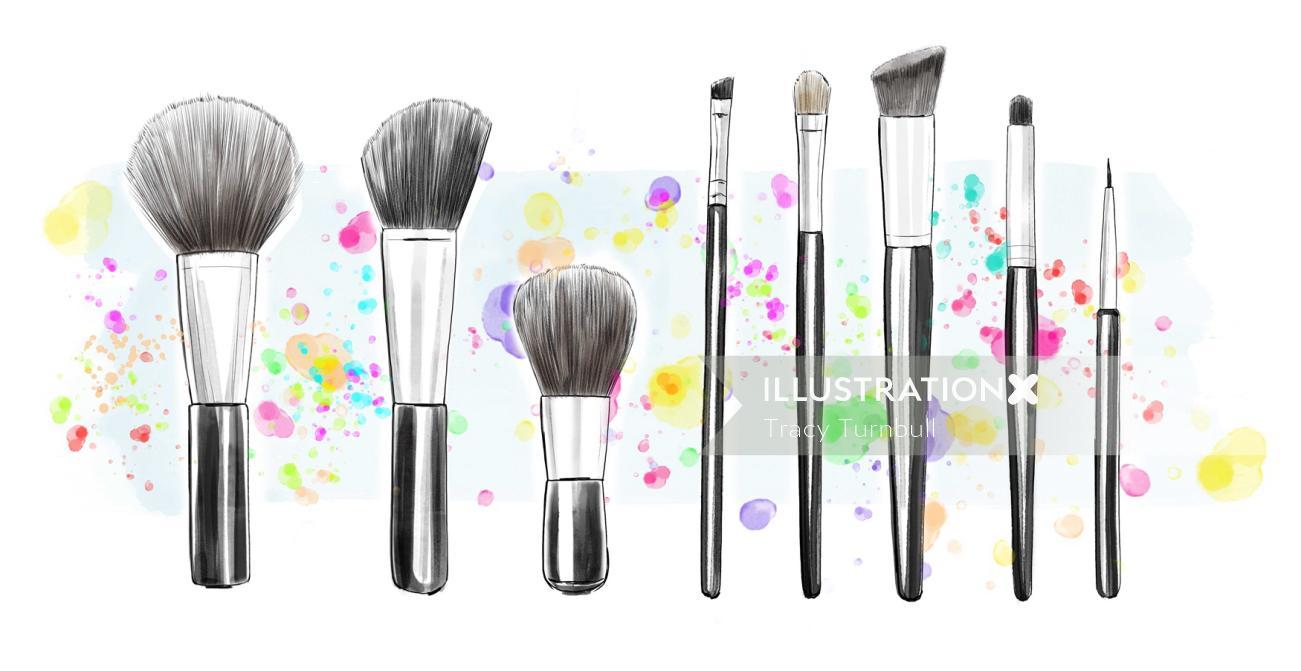 Illustration of Makeup brushes kit