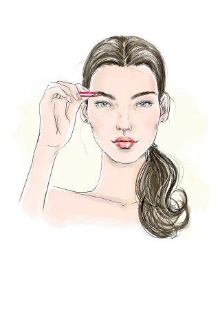 Closeup of young woman with eyebrow makeup