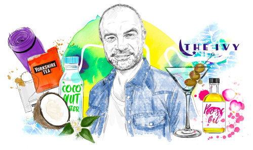 Portrait illustration of Andrew Barton Montage for Pro Hair & Beauty Magazine