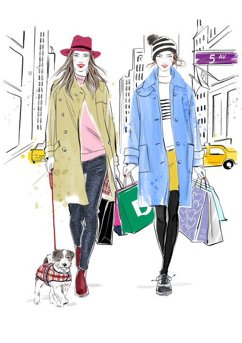 Young girls in city with fashionable clothes and shopping bags