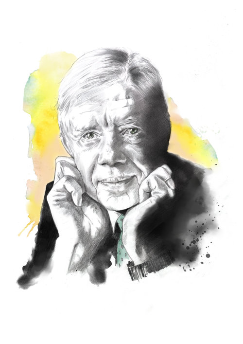Painterly artwork of Jimmy Carter