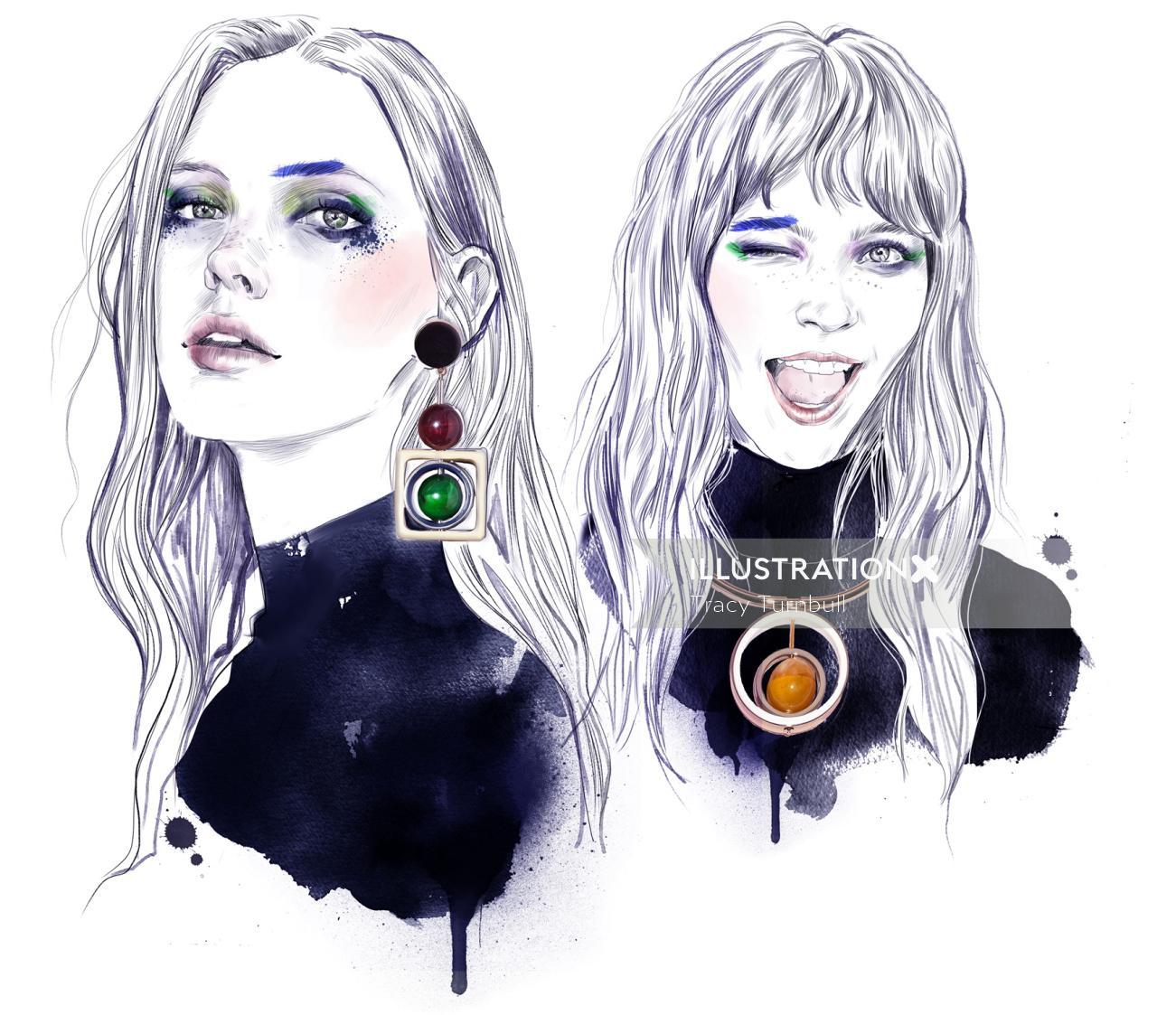 portrait of women with beautiful ear hangings