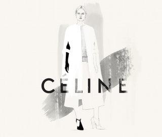 Illustration of fashion model for Celine Brand