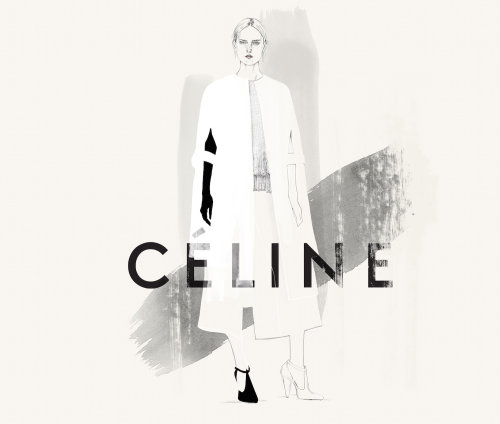 Illustration of fashion model for Celine Brand