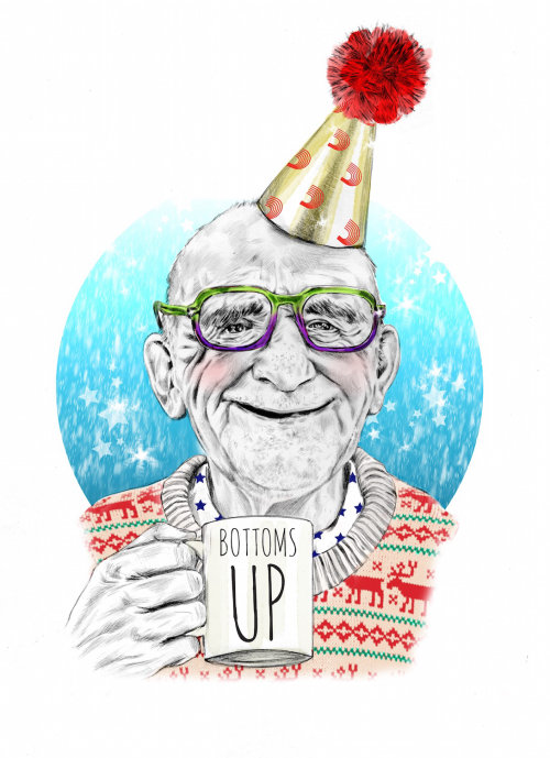 illustration of old man celebrating