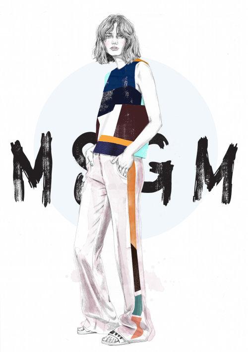 MSGM men's fashion costume illustration