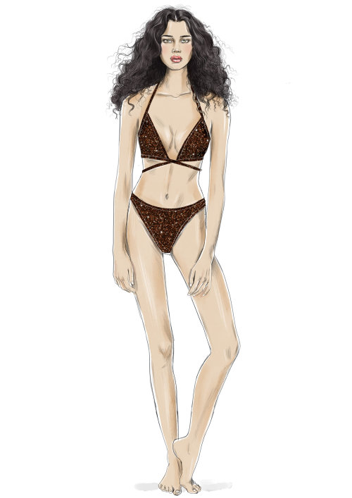 Model in trendy swimsuit Illustration by Tracy Turnbull