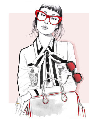 Black and White artwork of a Geek chick by Tracy Turnbull