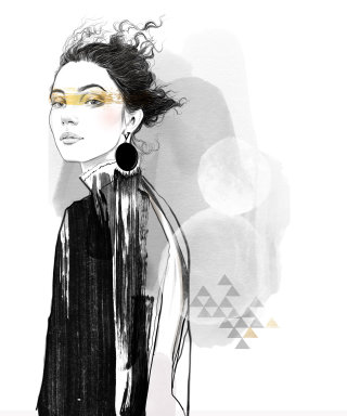 Black and White artwork of a women