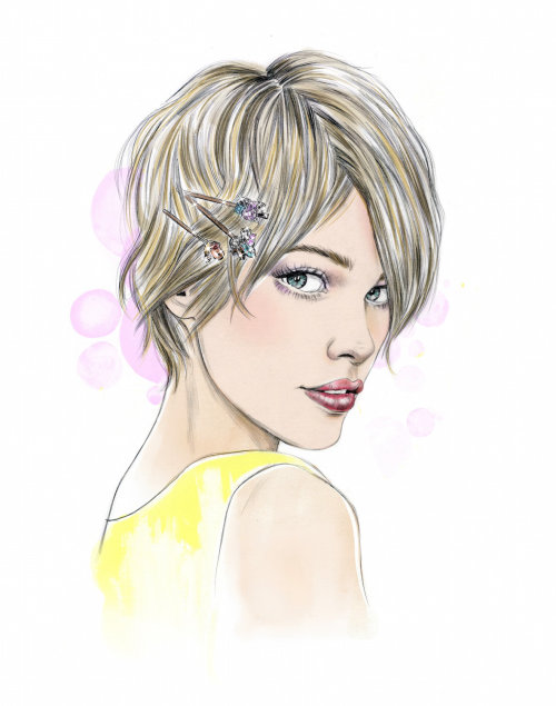 fashion illustration of young a girl modern haircut