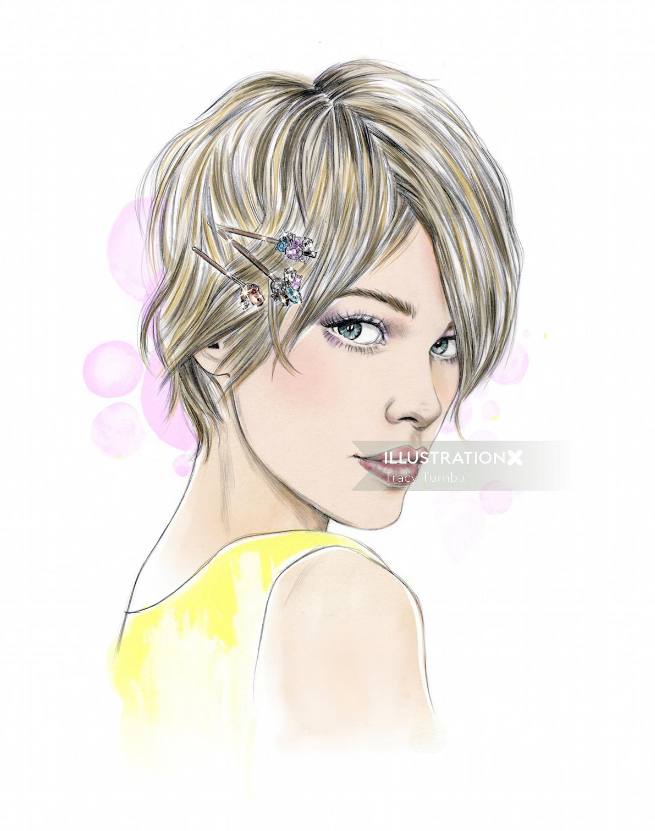 fashion illustration of young a girl modern haircut