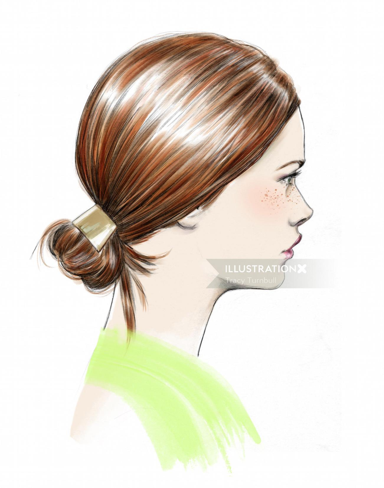 illustration of Girl's face with hair tied