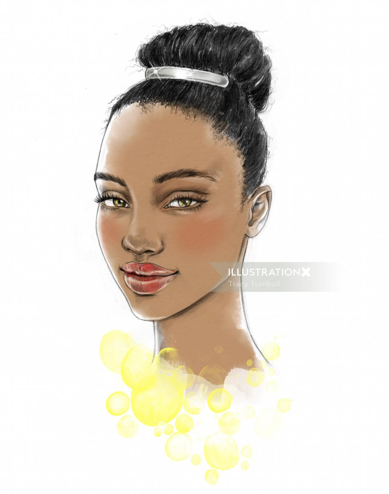 Beauty illustration of dark women with hair tied up