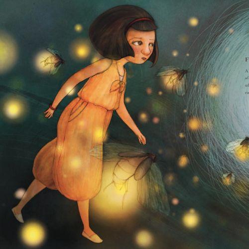 children Kim walking with fireflies