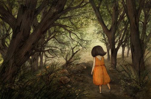 Dessin animé et humour Kim marchant dans la forêt