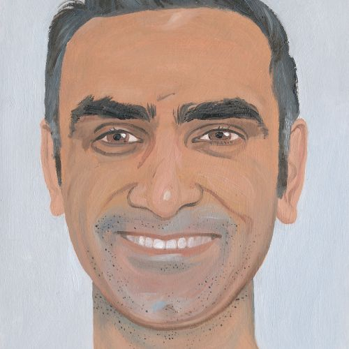 painting of man with a big smile
