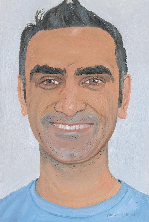 peinture de l'homme avec un grand sourire