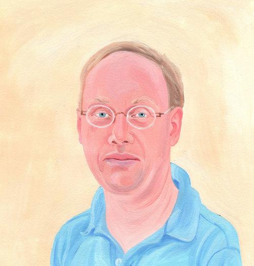 peinture d & # 39; homme avec des lunettes