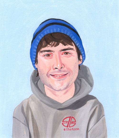 Painting of smiley teenager