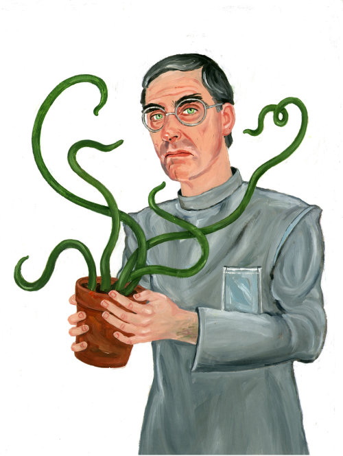 Painting of man with plant in pot