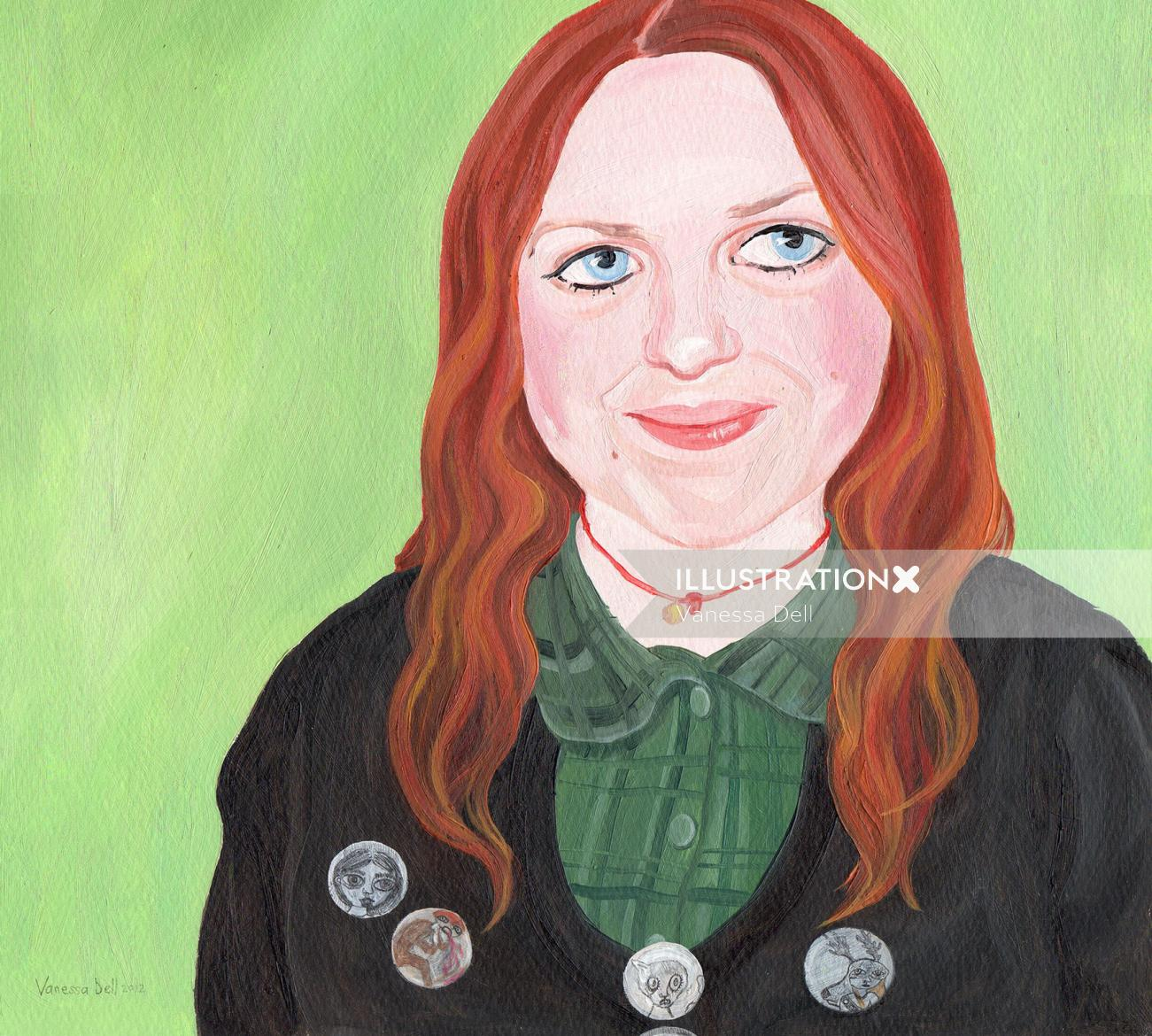 Painting of beauty with badges on coat