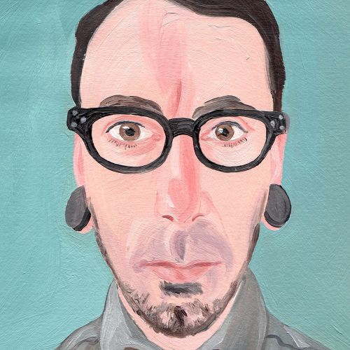 painting of man with ear studs