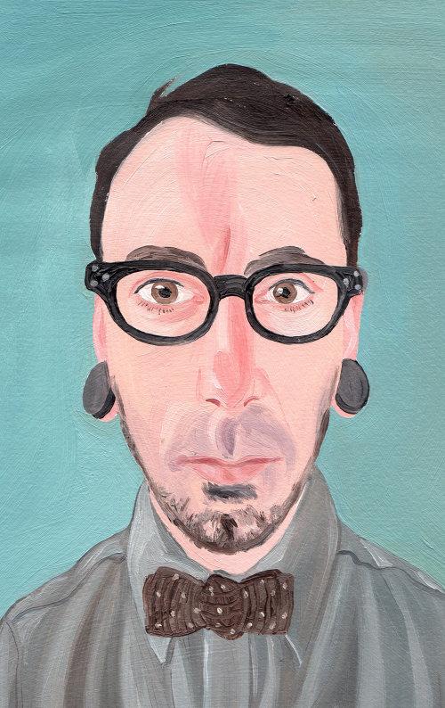 peinture de l'homme avec des clous d'oreilles