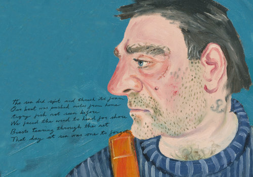 Profil de côté de peinture de l'homme avec lettrage
