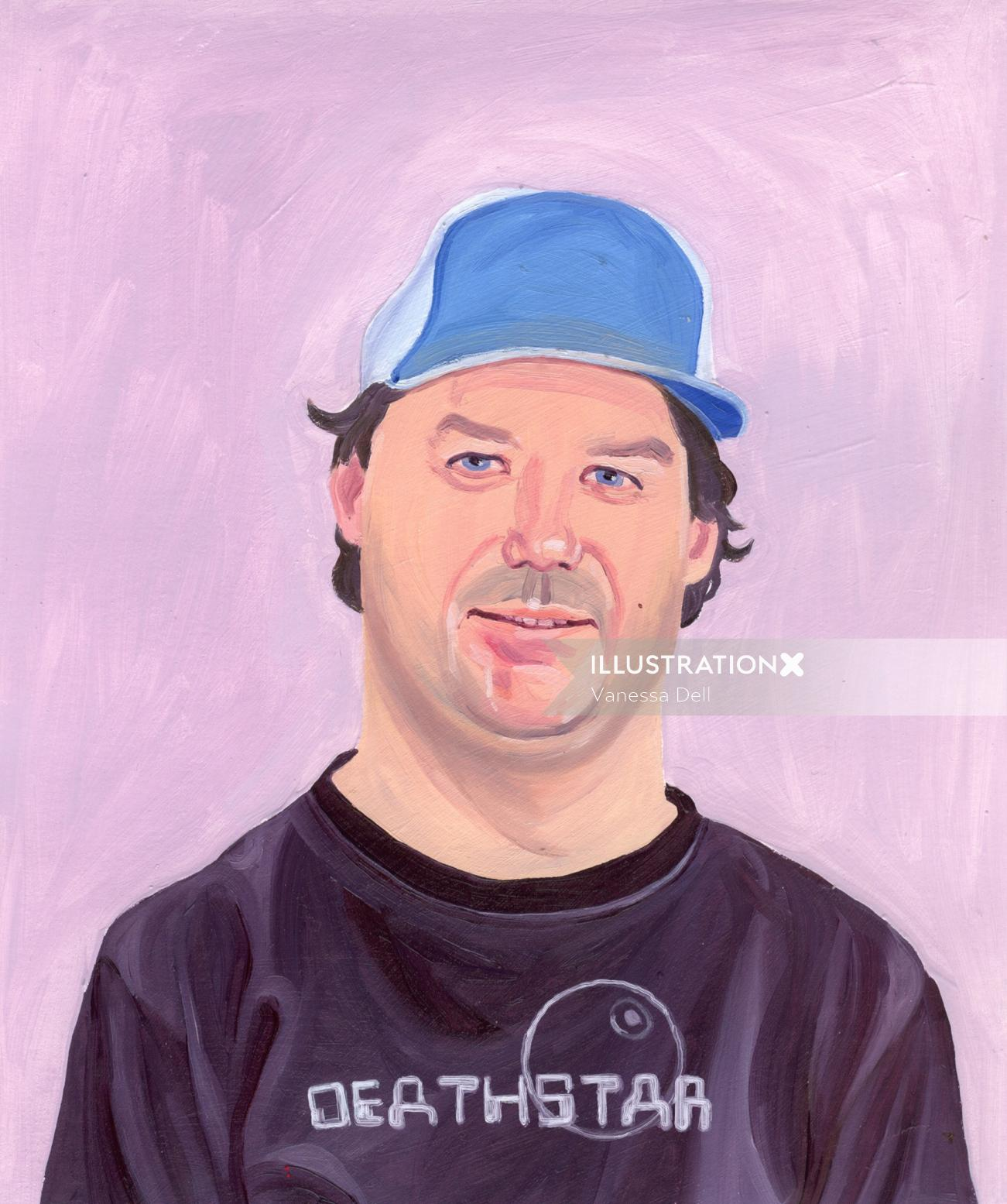 Painting of man with blue cap